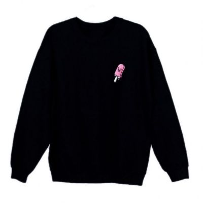 Azzyland Pink Poppy Black Crew Neck Sweater